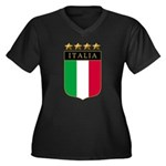 Italian 4 Star flag Women's Plus Size V-Neck Dark
