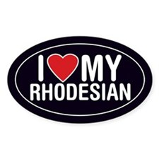 I Love My Rhodesian Ridgeback Oval Sticker/Decal