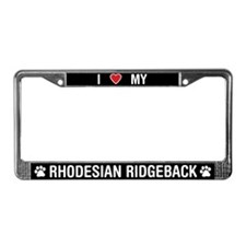 I Love My Rhodesian Ridgeback License Plate Frame