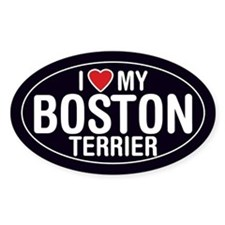 I Love My Boston Terrier Oval Sticker/Decal
