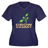 Grow Dammit Women's Plus Size V-Neck Dark T-Shirt