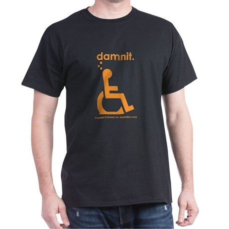 damnit.wheelchair Black/Orange T-Shirt