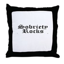 black sobriety rocks Throw Pillow