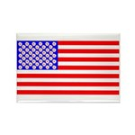 American Flag with Flowers Rectangle Magnet