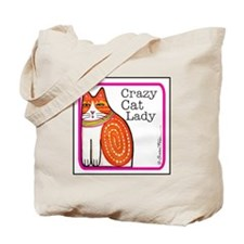 CRAZY CAT LADY Extra-Roomy Tote or Book Bag