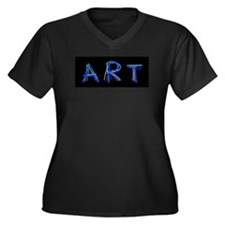 Art Women's Plus Size V-Neck Dark T-Shirt