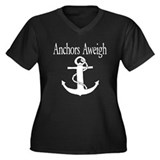 Anchors Aweigh white Women's Plus Size V-Neck Dark