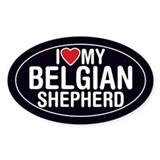 I Love My Belgian Shepherd Oval Sticker/Decal