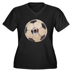 Mexico World Cup Women's Plus Size V-Neck Dark T-S