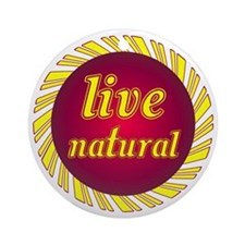 Live Natural Sunflower Ornament (Round)