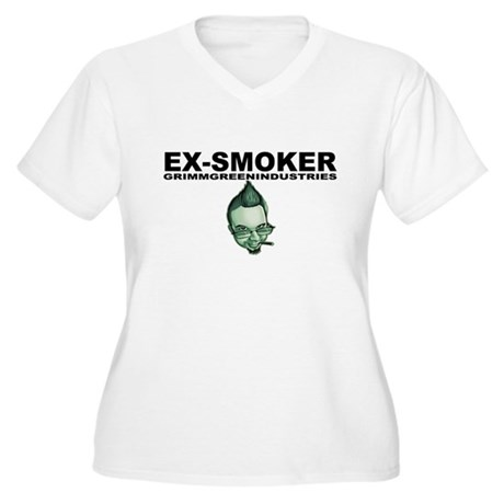 Ex-Smoker Women's Plus Size V-Neck T-Shirt