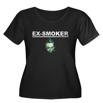 Ex-Smoker Women's Plus Size Scoop Neck Dark T-Shir