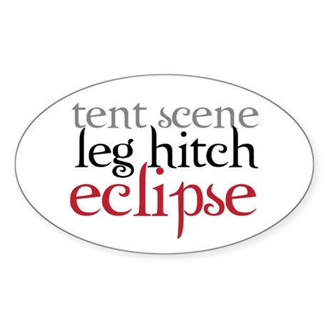 Tent Scene, Leg Hitch, Eclipse Sticker (Oval)