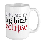 Tent Scene, Leg Hitch, Eclipse Large Mug