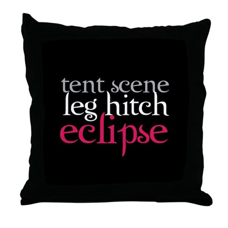 Tent Scene, Leg Hitch, Eclipse Throw Pillow