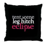 Tent Scene, Leg Hitch, Eclipse Throw Pillow