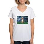 Lilies5-AussieShep (#5) Women's V-Neck T-Shirt
