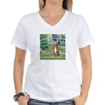 Bridge-Aussie Shep (#5) Women's V-Neck T-Shirt
