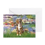 Lilies2-Australian Shep (#5) Greeting Cards (Pk of