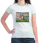Lilies2-Australian Shep (#5) Jr. Ringer T-Shirt