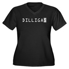 DILLIGAS Women's Plus Size V-Neck Dark T-Shirt