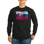 Wavy Slovakia Flag Long Sleeve Dark T-Shirt