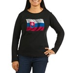 Wavy Slovakia Flag Women's Long Sleeve Dark T-Shir