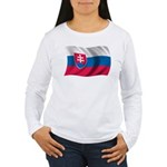 Wavy Slovakia Flag Women's Long Sleeve T-Shirt