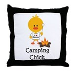 Camping Chick Throw Pillow