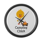 Camping Chick Large Wall Clock