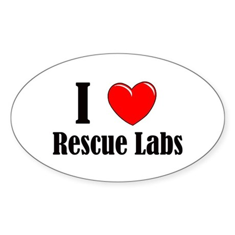 I Love Rescue Labradors Sticker (Oval)
