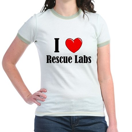I Love Rescue Labradors Jr. Ringer T-Shirt