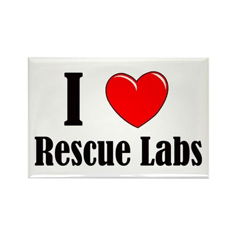 I Love Rescue Labradors Rectangle Magnet