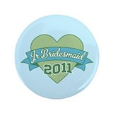 "Heart Junior Bridesmaid 2011 3.5"" Button"