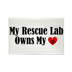 Heart Owning Rescue Lab Rectangle Magnet