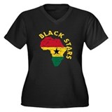 Ghana Black stars Women's Plus Size V-Neck Dark T-