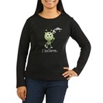 I Believe Alien UFO Women's Long Sleeve Dark T-Shi
