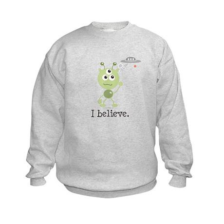 I Believe Alien UFO Kids Sweatshirt