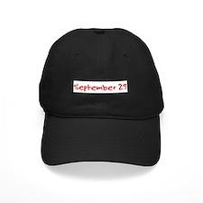 """September 29"" printed on a Baseball Hat"