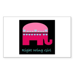 Right Wing Girl Sticker (Rectangle)