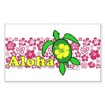 Aloha Hawaii Turtle Sticker (Rectangle)
