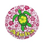 Aloha Hawaii Turtle Ornament (Round)