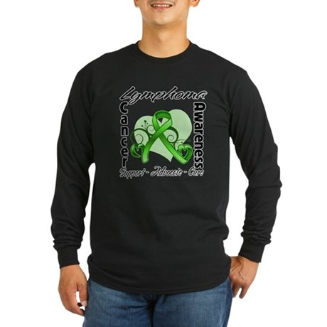 Ribbon Lymphoma Awareness Long Sleeve Dark T-Shirt