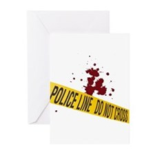 Police line with blood spatte Greeting Cards (Pk o