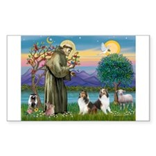 St Francis (W) - 2 Shelties (D&L) Decal