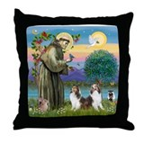 St Francis (W) - 2 Shelties (D&L) Throw Pillow