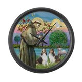 St Francis (W) - 2 Shelties (D&L) Large Wall Clock