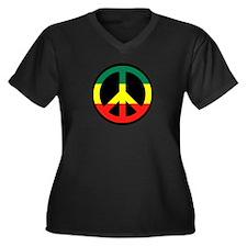 Rasta Peace Women's Plus Size V-Neck Dark T-Shirt