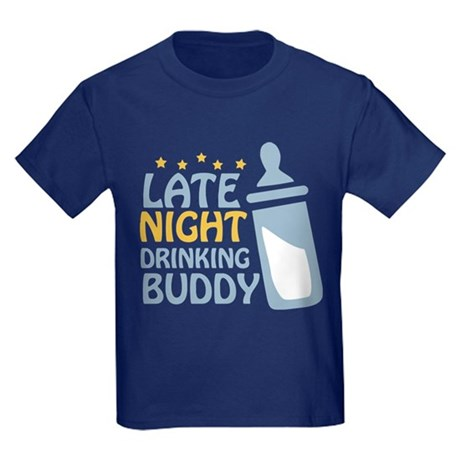Late Night Drinking Buddy Kids Dark T-Shirt