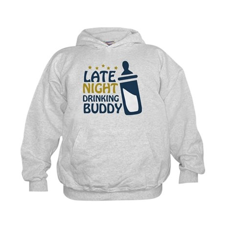 Late Night Drinking Buddy Kids Hoodie